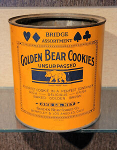 1920S GOLDEN BEAR COOKIES ONE POUND TIN CAN BERKELEY  & LOS ANGELES CALIFORNIA