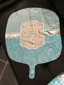"Blue  Cross Balloon 18"" Foil Baptism Christening Communion Decorations"