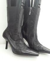 Ladies Mid Calf Boots River island Black Pointy Heel Zip Up Size footwear