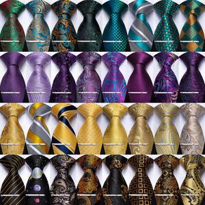 DiBanGu Silk Mens Teal Black Gold Purple Tie Paisley Stripped Necktie Set
