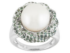 12MM WHITE CULTURED FRESHWATER PEARL 1.65CT ALEXANDRITE STERLING RING SIZE 6 JTV