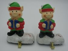 Christmas Stocking Holder Heavy Ceramic Snowman White with Green Scarf Set of 2