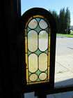 ~ ANTIQUE STAINED GLASS WINDOW CIRCLE TOP ~ 15 X 34 ~ ARCHITECTURAL SALVAGE ~