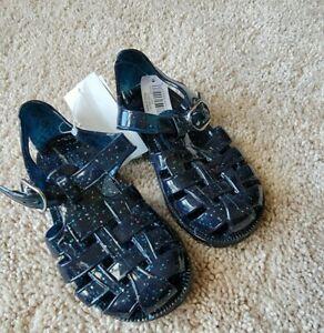 Baby Gap Girl's Navy Uniform Glitter Jelly Sandal Shoes NWT Sz. Toddler 7