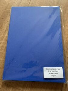 Pink Frog Crafts - 40 Sheets True Blue A4 Card 290gsm Card Making Construction