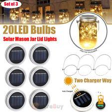 Solar Lantern Mason Jar Hanging 20 LED Light String Fairy Firefly Starry Lamp