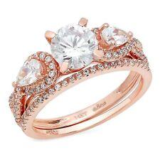 Bridal Ring Band set 14k Rose Gold 2.0ct Round Pear 3 stone Moissanite Promise