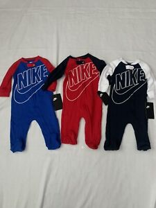 NEW 3 Nike Baby Footed Coverall Nike Baby Clothes 3 Total Size 6 Months Baby Boy