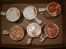 Sitka Clay Coffee Mugs signed Hales 1975 - 6 total