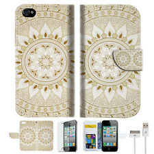 White AZTEC TRIBAL Wallet Case Cover For Apple iPhone 4 4S -- A006
