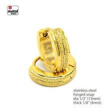 Stainless Steel 14k Gold Plated Huggie Hoop Hinged Snap Earrings SSHE 025 G