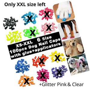 Dog Nail Caps 5 Colors Glitter Solid Pet Soft Claws Covers Protect Floor Kid XXL