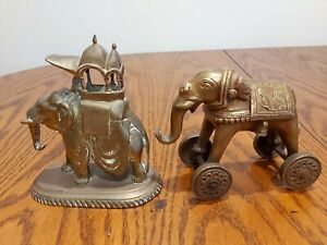 2 Vintage 1900's elephant brass for Hindu come from Southern India( two: 1.9kg)
