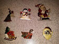 Lot Of Christmas Pins Brooches Santa Snowman Angel Pin Back