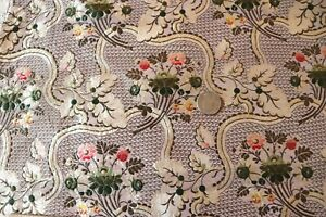 """Antique French 18thC Floral Silk Brocade Fabric~Dolls,Home,Collectors~51""""X19"""""""