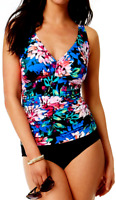 Swim Solutions Floral Ruched Tummy Control One Piece Size 10 Swimsuit NWT $109