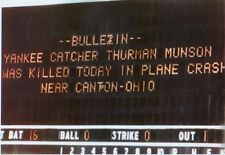 NY Yankees Thurman Munson photo from Shea Stadium Scoreboard of plane Crash