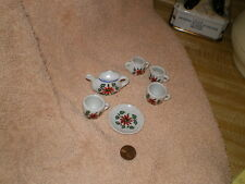 Child's Porcelain Tea Set,  Vintage Japan, Partial 7 Pieces  w/Orange Flowers