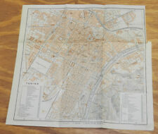 1909 Antique COLOR Road Map of TURIN (TORINO), ITALY