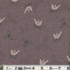 Lecien CANDY CANE ANGELS Holly & Birds Brown Fabric 1/2 yard by Lynette Anderson
