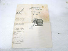 OLD  original VIKING F-120 CLOSED FACE SPINNING REEL FOLDOUT USED - COLLECTOR