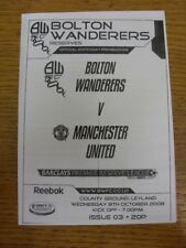 08/10/2008 Bolton Wanderers Reserves v Manchester United Reserves [At County Gro
