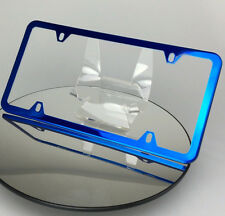 Powder Coated Candy Blue Stainless Steel License Plate Frame Holder Slim 4 Holes