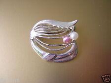 Kleine antike Echte Silber Brosche mit 2 echten Perlen 3,3 g / 2,6 x 2,4 cm