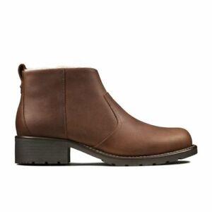 BNIB Clarks Ladies Orinoco Snug Tan Leather Warm Lined Boots