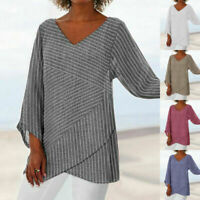 Women Striped V Neck Blouses Long Sleeve Loose Baggy Tops Tunic Shirts Plus Size