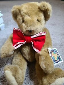 """Vtg 1994 Vermont Teddy Bear Jointed Plush 17"""" Stuffed Toy Animal 90s Red Bow USA"""