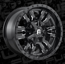 18x9 ET20 Fuel D595 Sledge 8x180  Black Milled Rims (Set of 4)