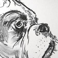 Personalizable Art I Love My Boxer dog drawing art print