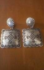 NAVAJO STAMPED BIG CONCHO SQUARE  EARRINGS BY VINCENT PLATERO