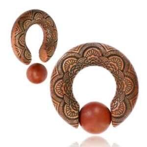 PAIR SAWO WOOD CBR EAR WEIGHTS ORNATE CARVING MANDALA SPIRALS GAUGES HOOPS PLUGS