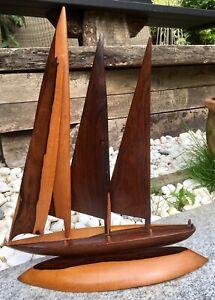 Vintage Hardwood Model Sailing Yacht Boat