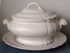 Loucarte ~ Portugal ~ WHITE CERAMIC TUREEN with LID, LADLE, and PLATTER ~ 4 Qts.