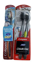 Colgate 360 Charcoal Toothbrush Soft Total Advanced Medium Lot Of 3 New