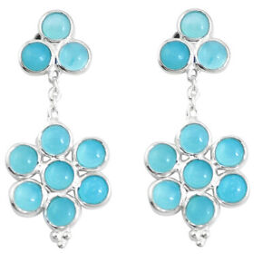10.75cts Natural Blue Chalcedony 925 Sterling Silver Earrings Jewelry P11765