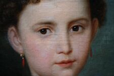 BIEDERMEIER GANZKÖRPER PORTRAIT  EINES KLEINEN MÄDCHENS MIT SOMMERHUT UM 1840