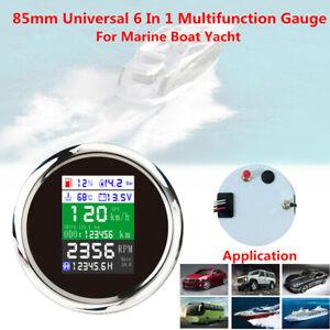 85mm Multi-function Gauge Boat Yacht Car GPS Odometer Speedometer Tacho Oil Temp