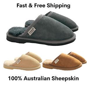 Kangroo Ugg 100% Australian Genuine Sheepskin Lambskin Mens Slippers Scuffs