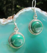 Pendiente DECORADO Malaquita Verde Redonda Piedra DE AFRODITA plata esterlina