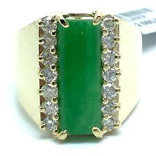 14K Yellow Gold Jade Diamond Wide Ring. Lucky Stone Birthday Gift