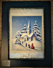 Vintage Framed Christmas Card Midnight Mass