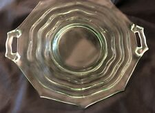 Green Vaseline Depression Glass Wavy Optic 10-Sided Handled Cake Plate