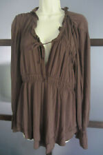 Boston Proper Womens Tiered Boho Chic Top Size Large Brown