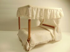 Older wood doll house model canopy style bed - about 7 inches tall