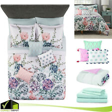 10 Piece Jade Floral All Sizes Comforter Set Bed in a Bag Sheets Bedding Pillows