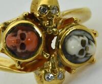 $9500 MUSEUM Victorian Memento Mori 14K Gold,Diamonds&Coral Cameo ladies ring